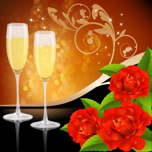 Свечи, шампанское и красные розы - векторный клипарт / Candles, champagne and red roses - vector stock
