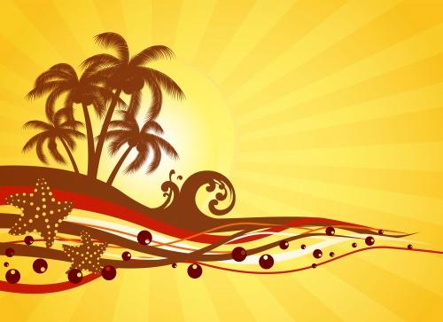 Векторные фоны к летним каникулам / Summer party - vector stock
