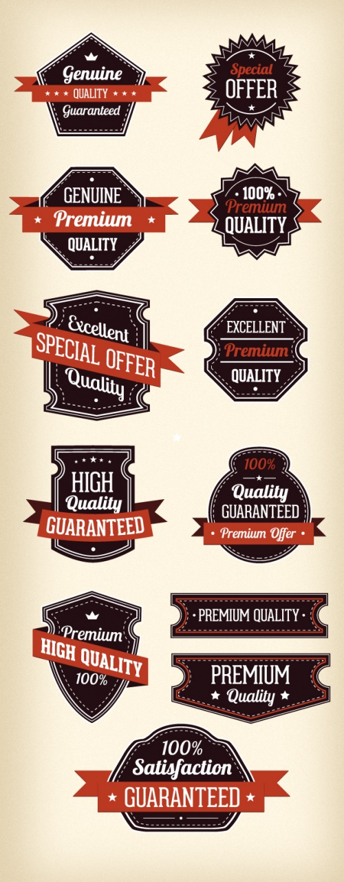 Designtnt - Retro Labels Vector Set 3