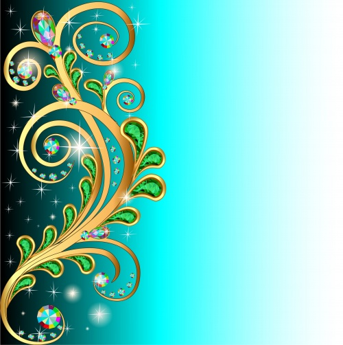 Background with floral design and precious stones-vector clipart