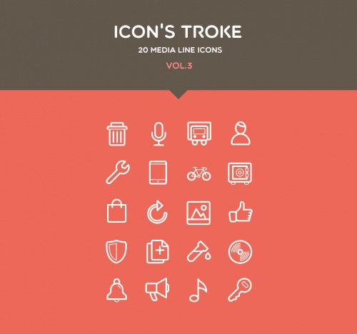 Pixeden - Flat Stroke Line Icons Set Vol3