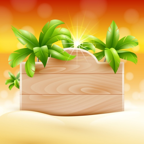 Tropical Wooden Boards Vector