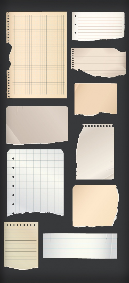 Designtnt - Notebook Torn Paper Vector Set