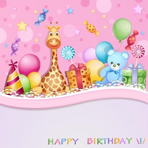 Векторные детские фоны ко дню рождения / Happy birthday - vector backgrounds