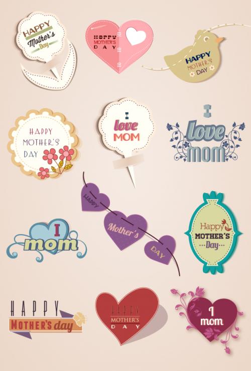Designtnt - Mother's Day Vector Elements Set 2