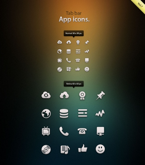 Pixeden - Tab Bar Icons iOS vol7