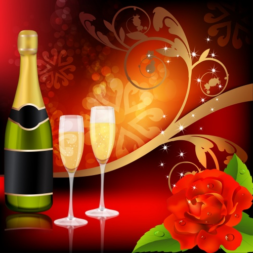 Romantic backgrounds with flowers, champagne, candles, roses - vector clipart