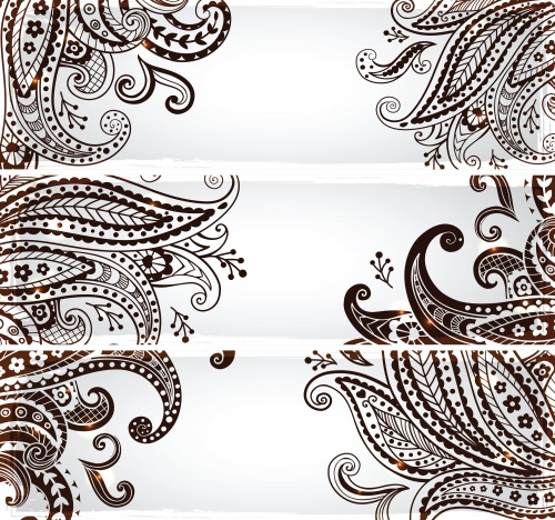 Banners with floral ornaments - vector clipart