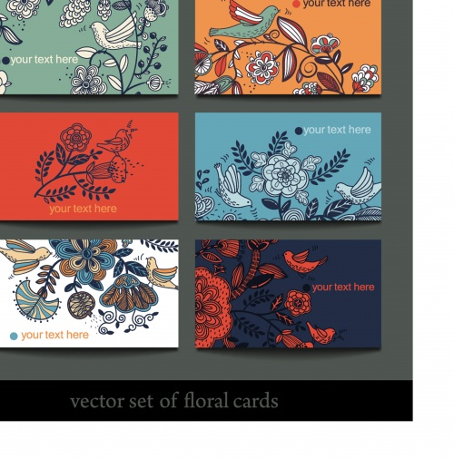 Set of colorful floral cards
