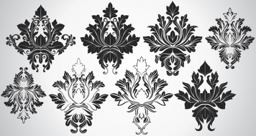 Damask Backgrounds Vector Set