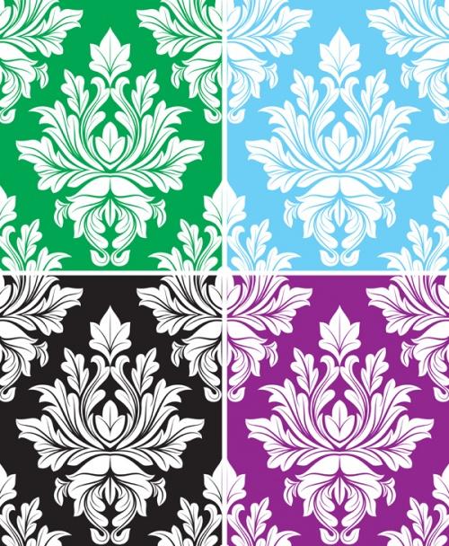 Damask Backgrounds Vector Set