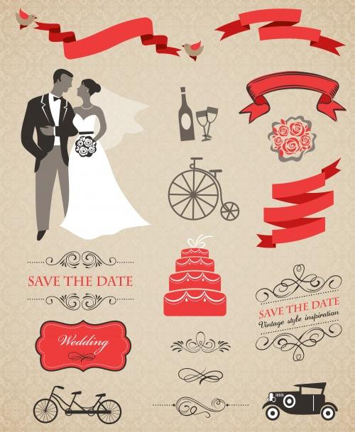 Свадебная инфографика в векторе / Wedding infografic elements in vector