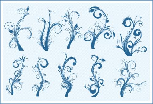 Designtnt - Floral Swirls Set 1