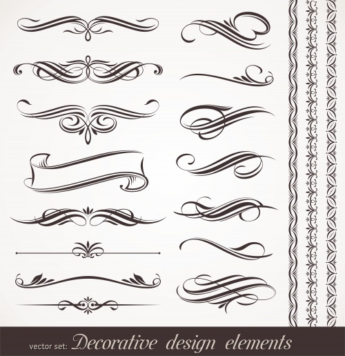 Векторные декоративные элементы для дизайна / Vector decorative design elements & page decorations in vector