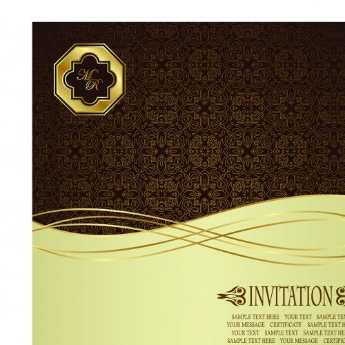 Винтажные пригласительные на свадьбу часть 3 | Vintage wedding invitation card vector set 3