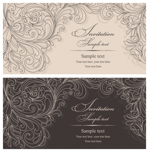 Elegant Floral Invitations Vector