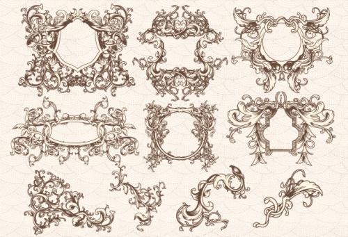 Designtnt - Vector Engraved Floral Frames