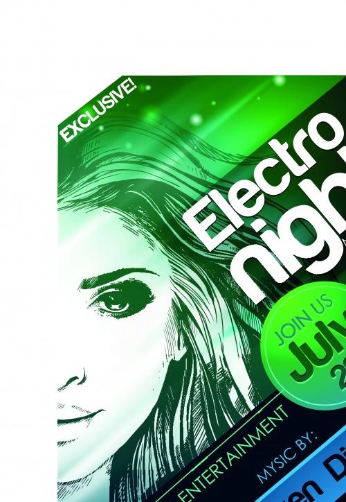 Вечеринка в клубе постеры | Party poster music club electro night vector