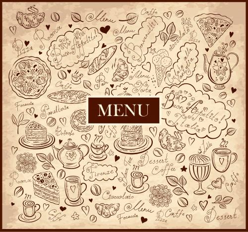 Винтажные меню для кафе в векторе / Vintage menu for cafe