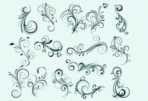 Designtnt - Floral Swirls Set 2