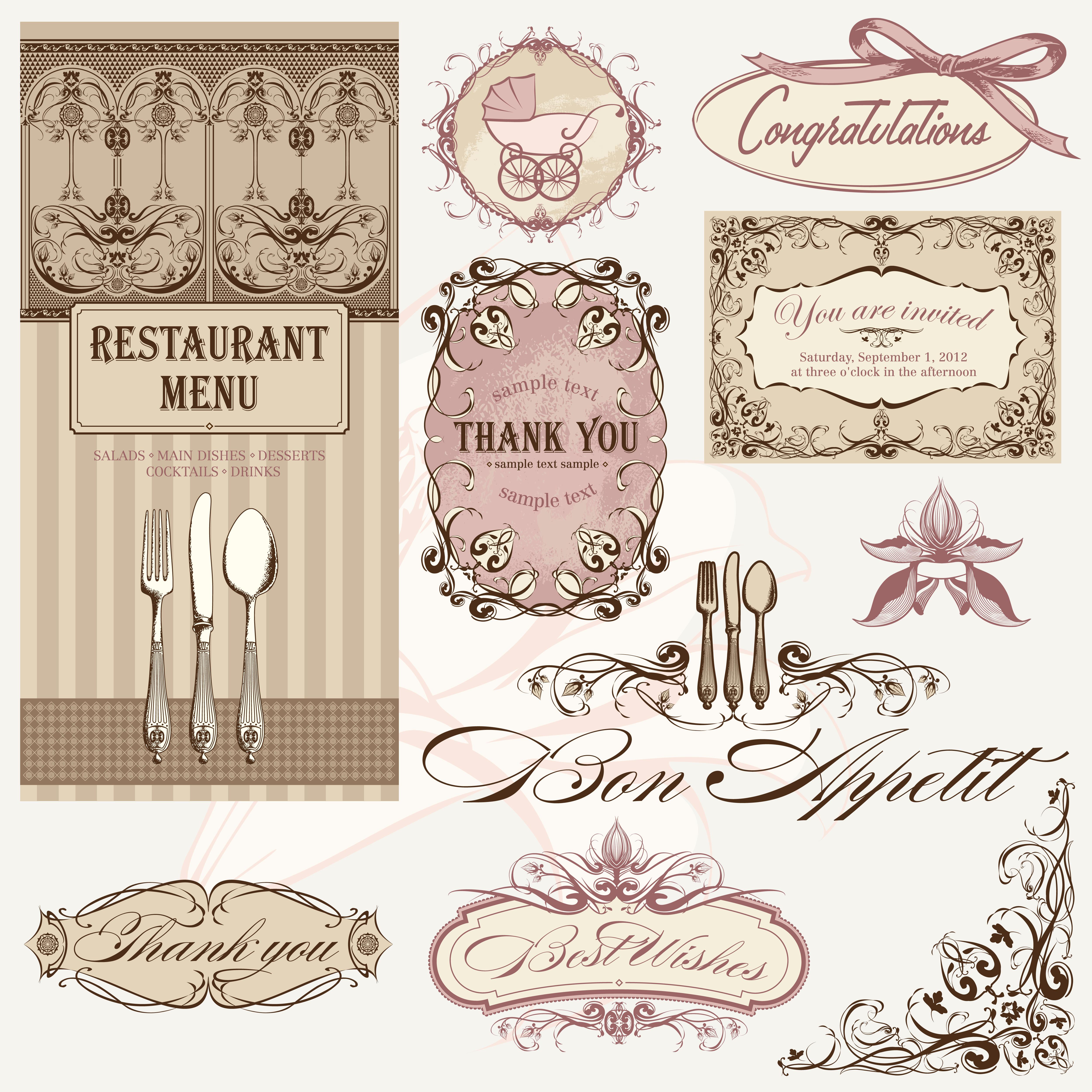 vintage invitation and cup for menu in vector. Black Bedroom Furniture Sets. Home Design Ideas