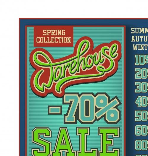 Винтажный постер скидка | Vintage poster sale vector