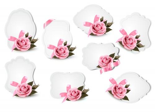 Коллекция поздравительных фонов с розами / Collection of holiday greeting cards with roses in vector