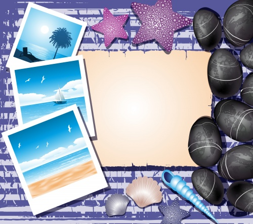 Векторные морские летние фоны / Background with shells, travel photos and place for text