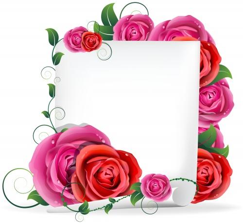 Красные розы, свиток и ангельские сердца в векторе/ Red roses and hearts in vector