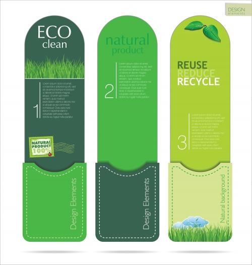 Эко стикера, фоны и эмблемы в векторе / Eco signs, labels and emblems in vector