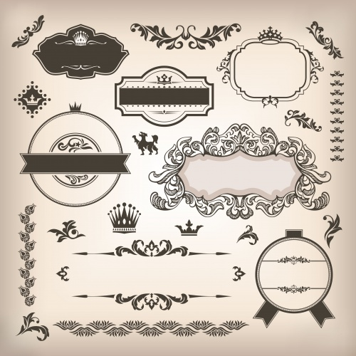 Винтажные векторные элементы для дизайна / Vintage elements in vector colection