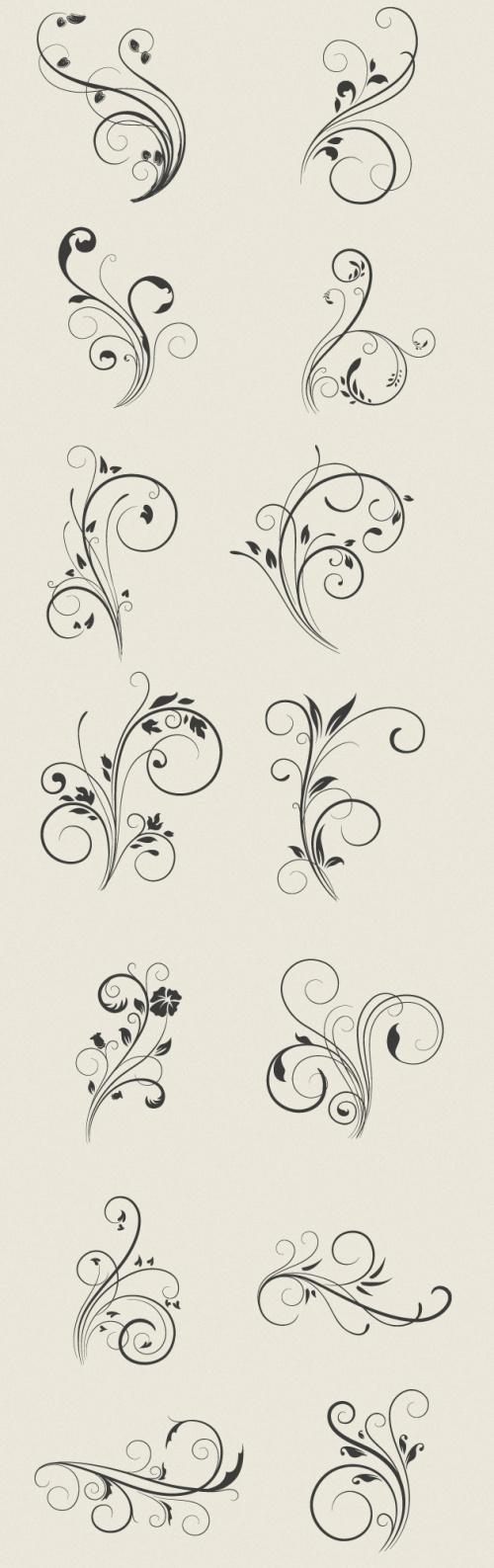 Designtnt - Vector Floral Swirls