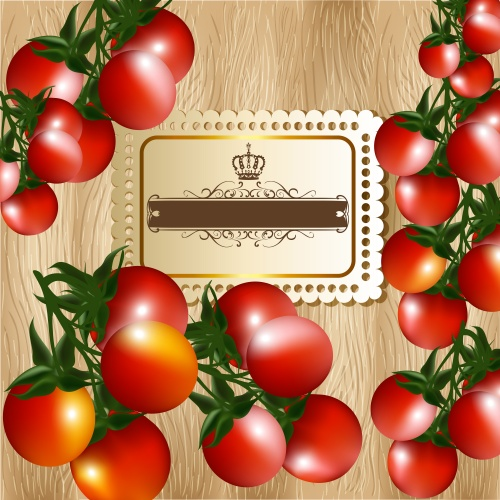 Фоны для меню с грибами и томатами / Background for menu with tomatos and mushroom in vector