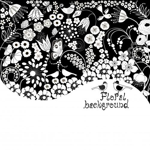 Цветочные фоны, цветочные орнаменты и бабочки,павлины в черно-белом цвете - векторный клипарт