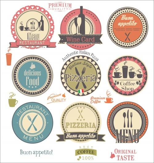 Лэйблы и меню- стикера для ресторана в векторе / Labels and restaurant menu in vector