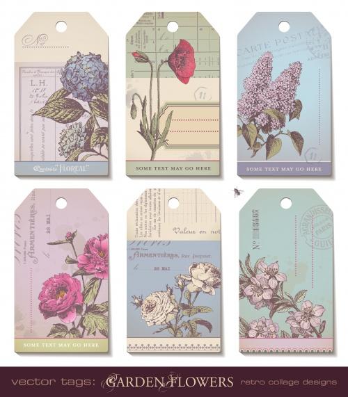Винтажные весенние фоны с цветами и к пасхе / Vintage spring and easter background with flowers in vector