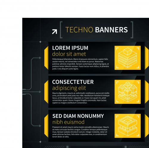 Техно баннеры | Techno banner vector