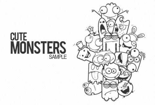 Cute monsters free vector sample