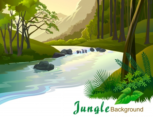 Jungle backgraund / Фоны джунглей - пальмы, дикие цветы, море зеленой травы, реки и водопады