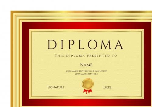 Дипломы золотой шаблон | Gold diploma template vector