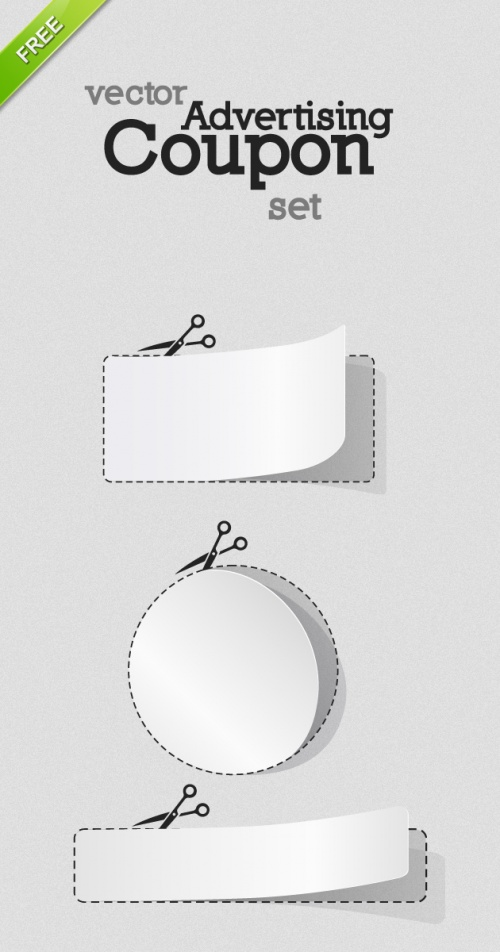 Designtnt - Vector Blank White Advertising Coupon