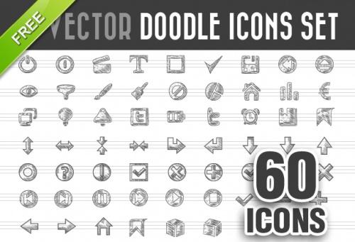 Designtnt - Doodle Icons Vector Set