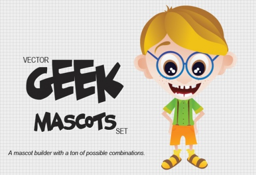 Designtnt - Geek Mascots Vector Set 1
