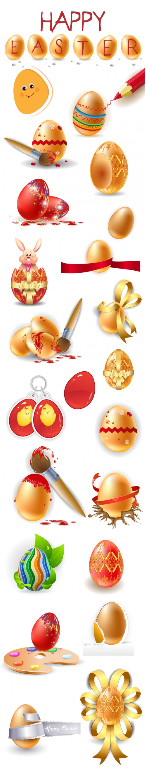 Designtnt - Easter Elements Vector Set 1