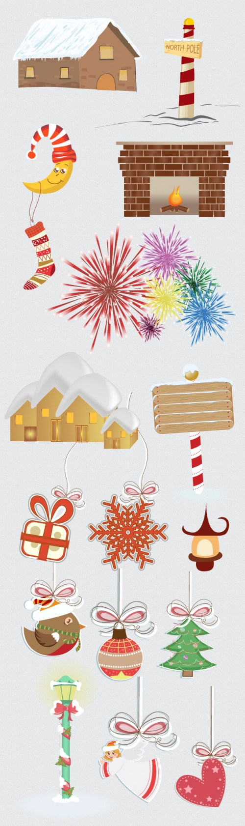 Designtnt - Christmas Vector Ornaments Set 2