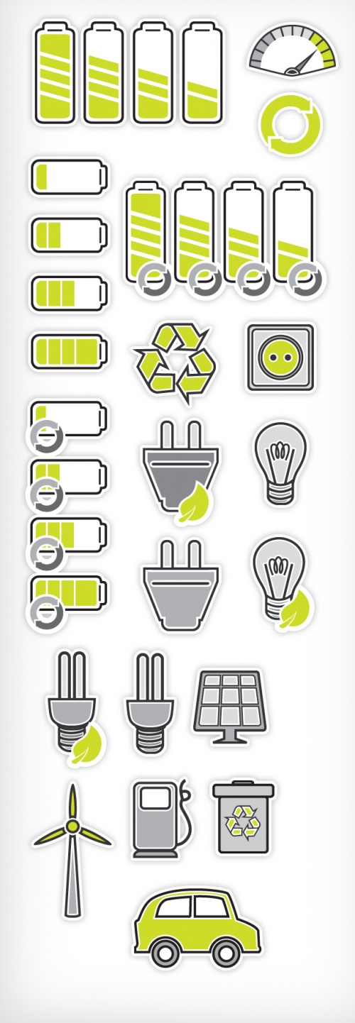 Designtnt - Vector Power Recycling Pictograms