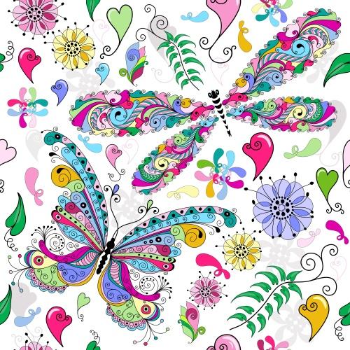 Векторные фоны с бабочками и цветами / Background with butterflies and flowers in vector