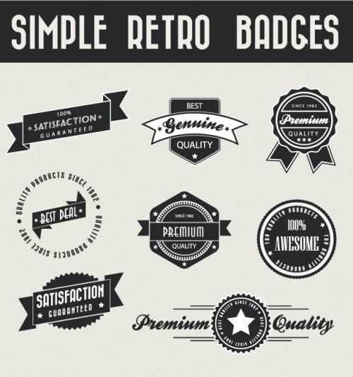 Designtnt - Simple Retro Vector Badges