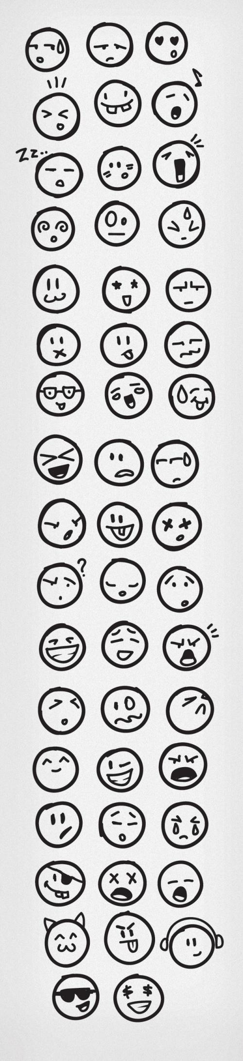 Designtnt - Vector Doodle Emoticons