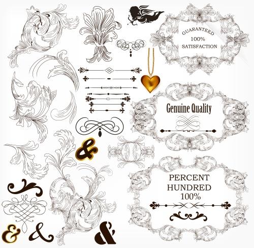 Орнамент и элементы в векторе / Vintage ornament set in vector